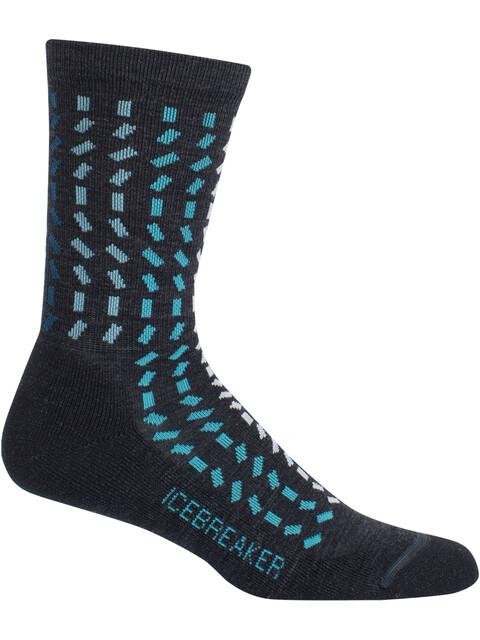 Icebreaker W's Lifestyle Light Crew Rectangle Socks jet hthr/mediterranean/blizzard hthr